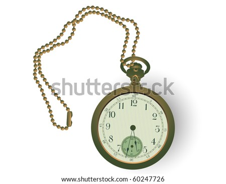 Vector illustration of an antique pocket watch. - stock vector