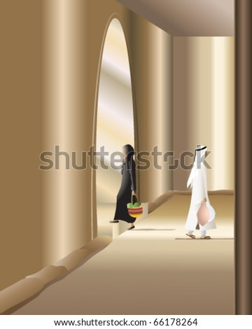 vector illustration of an arab man and woman in traditional clothes walking in opposite directions through a sunlit building in eps10 format