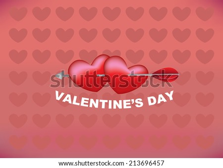 Vector illustration of an arrow shooting through two hearts with red heart shape pattern background