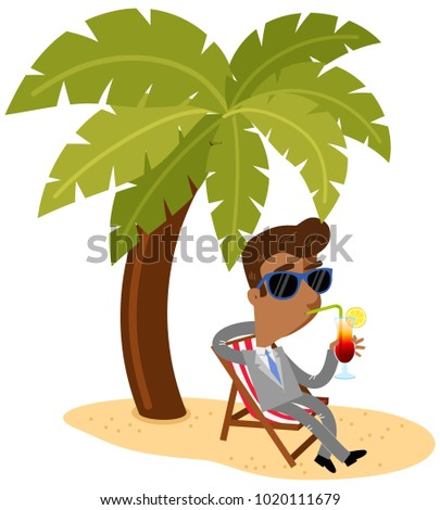 Vector illustration of an asian cartoon businessman sipping a cocktail sitting in a canvas chair underneath a palm tree on the beach
