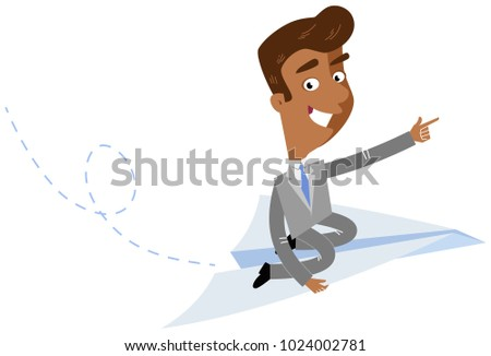 Vector illustration of an asian cartoon businessman sitting on paper plane pointing forward isolated on white background