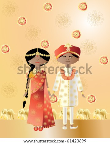 vector illustration of an asian wedding couple in intricately decorated traditional dress in eps10 format