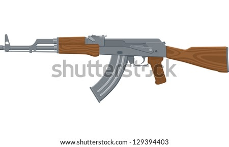 Vector Illustration of an assault rifle or sub-machine gun.