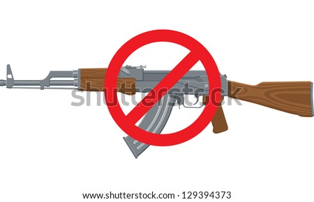 Vector Illustration of an assault rifle or sub-machine gun with red circle and line.