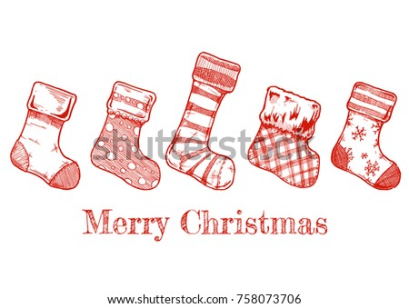 Vector Illustration Of An Assortment Five Christmas Stockings In Ink Hand Drawn Style