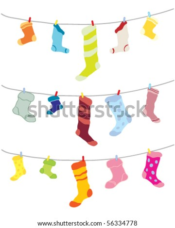 vector illustration of an assortment of odd socks pegged out to dry on a washing line