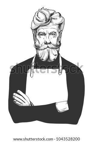 Vector illustration of an attractive man in age with a full beard and moustaches wearing apron. Cook, barber, barista, hairdresser, stylist, sailor, fisherman, angler close-up portrait, vintage.