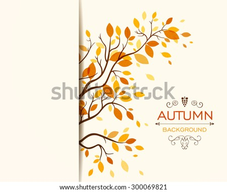 Vector Illustration of an Autumn Design with Autumnal Branch