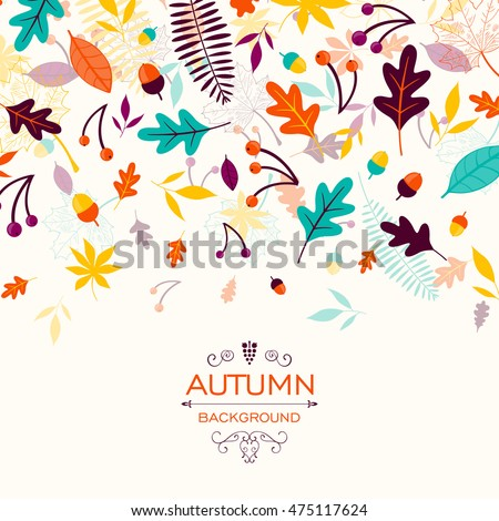 Vector Illustration of an Autumn Design with Autumnal Leaves