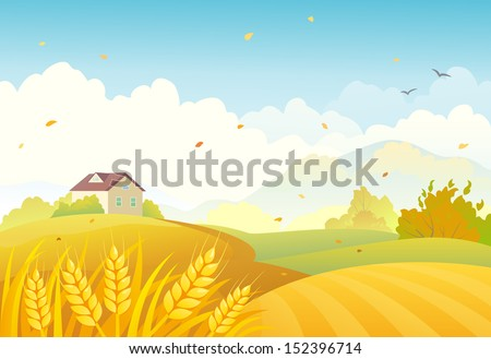 stock-vector-vector-illustration-of-an-autumn-farm-landscape