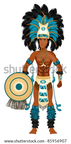 Vector Illustration of an Aztec man in Costume for Carnival Halloween or Thanksgiving. - stock vector