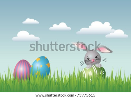Vector illustration of an Easter landscape with three colorful Easter eggs. A smiling Easter bunny is holding one of the eggs. #73975615