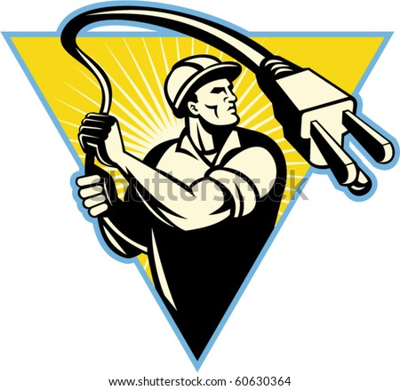 vector illustration of an Electrician holding electric plug like a lasso set inside a triangle with sunburst in background from waist up.