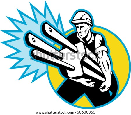 vector illustration of an Electrician or power lineman carrying  plug set inside circle with sparks isolated on white