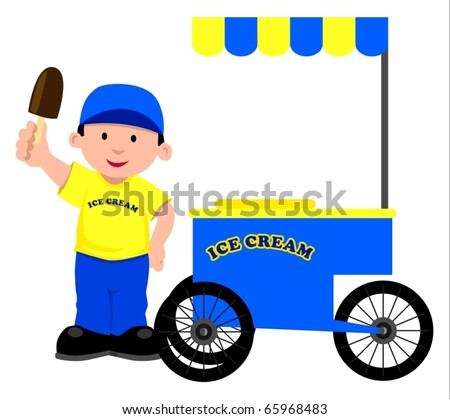 Vector illustration of an ice seller