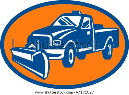 vector illustration of an icon with Snow plow pick-up truck inside oval