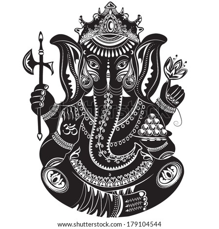 Ganesh Black And White Tattoo in Black And White Tattoo