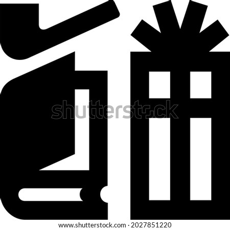 Vector illustration of an international airport symbol for shops. Black and white AIGA sign for shopping area at airport