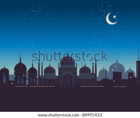 vector illustration of an islamic city skyline at night with lots of copy space in eps 10 format