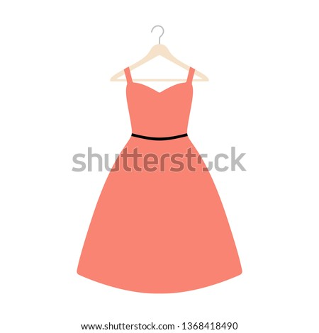 Vector illustration of an isolated plus size dress on a coat hanger. Сток-фото ©
