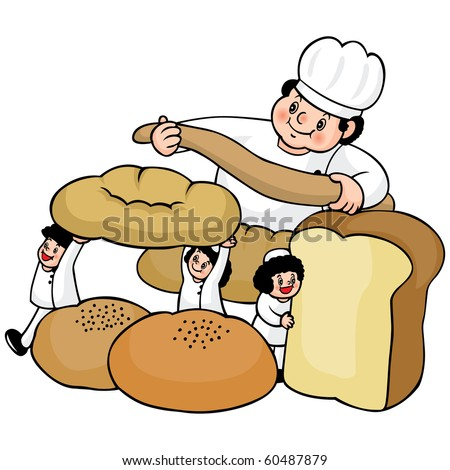 Vector illustration of an italian cartoon chef with a freshly baked bread.