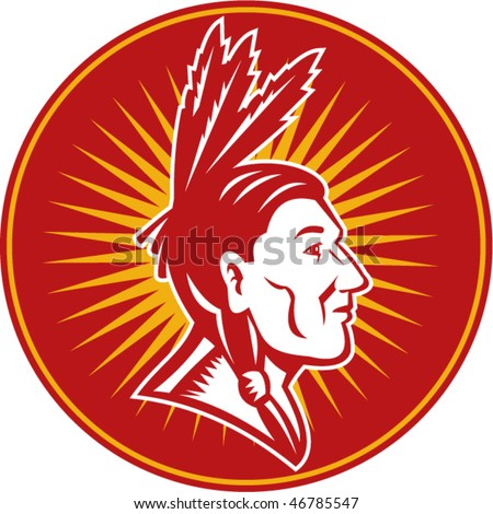 vector illustration of an native American indian chief with three feathers side view
