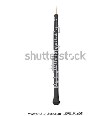 Vector illustration of an oboe in cartoon style isolated on white background
