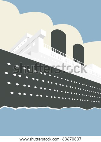 Vector illustration of an Ocean Liner Cruise Ship Boat at Sea