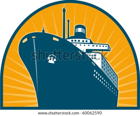 vector  illustration of an Ocean passenger liner boat ship at sea viewed from low angle done in retro style
