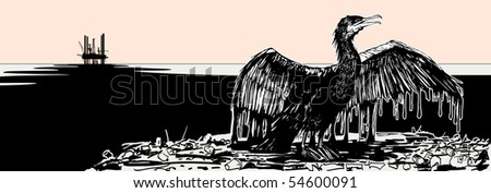 Vector illustration of an oiled cormorant (hand drawing)