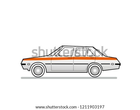 Vector Illustration of an old Car with an Orange Stripe across it