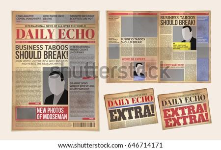 old newspaper illustration template download free vector art