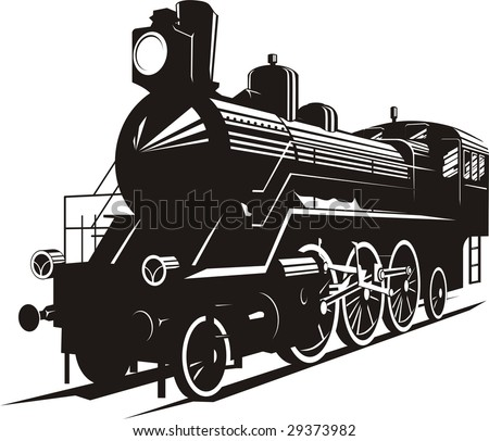 Vector illustration of an old steam engine - stock vector