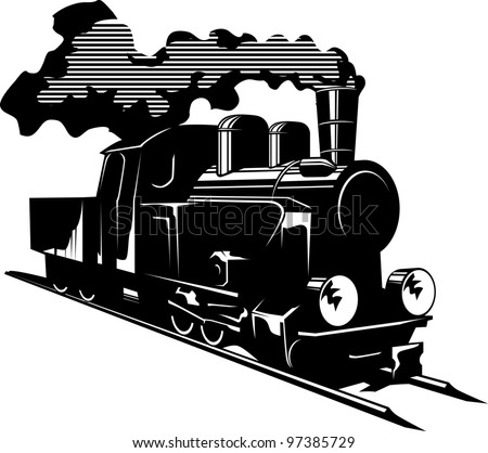 Vector illustration of an old steam engine