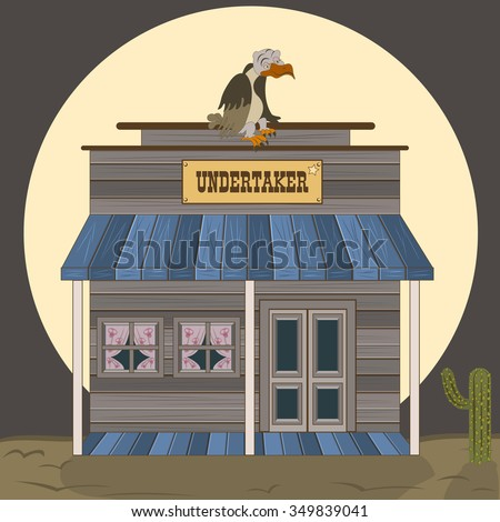 Vector illustration of an old west building - undertaker with a waiting vulture on the roof.