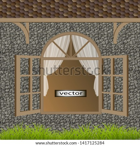 Vector illustration of an open house window in ancient styles under a tiled roof house n green grass Foto stock ©