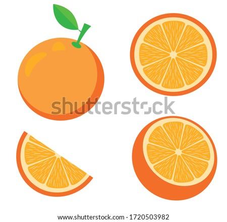 vector illustration of an orange. Fruits, slices, oranges. Fresh fruit background isolated on white.