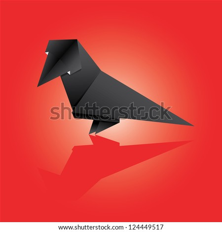 Vector illustration of an origami crow