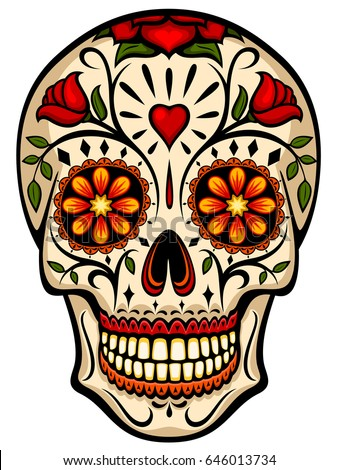 Shutterstock Vector illustration of an ornately decorated Day of the Dead (Dia de los Muertos) sugar skull, or calavera.