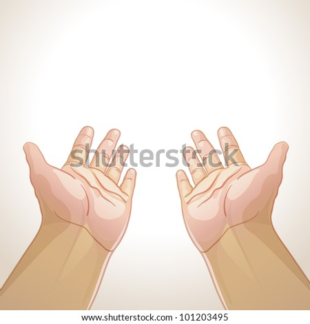 Vector illustration of an outstretched hands