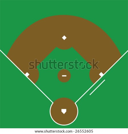 Vector illustration of an overhead view of a baseball diamond - stock vector