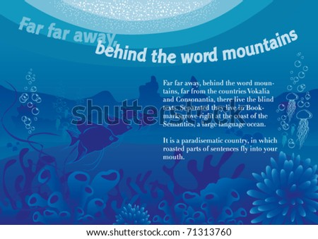 Vector illustration of an underwater scene with sample text.