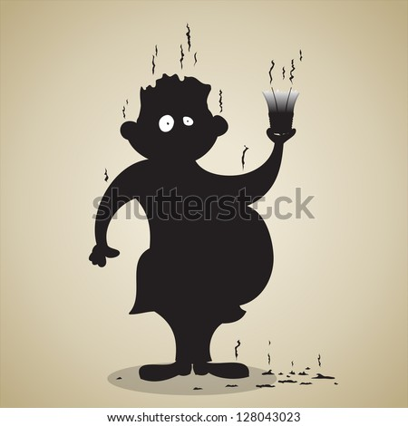 Vector illustration of an unlucky guy holding an exploded light bulb. EPS 8 file, no transparency.