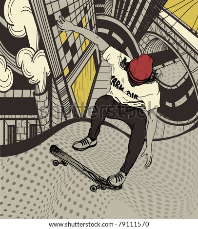 vector illustration of an urban boy jumping on a skateboard