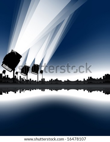 Vector illustration of an urban cityscape and skyline with sea bay and spotlights in the sky. - stock vector