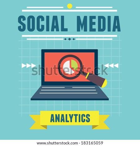 Vector illustration of analytics social media information and development website statistic - vector illustration