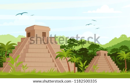 Vector Illustration of ancient Mayan pyramids in the jungle in daytime in flat cartoon style.