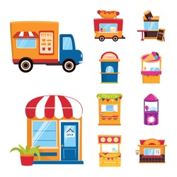 Vector illustration of and booth icon. Set of and vending stock symbol for web.