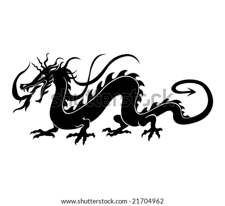 Vector illustration of angry chinese dragon in a tattoo tribal style
