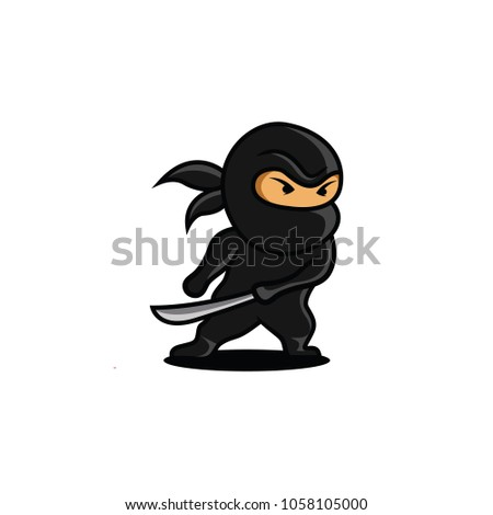 Stock Photo Vector Illustration of Angry Ninja with Sword